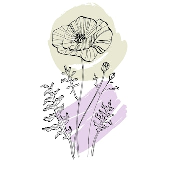 Zeitgenössische mohnblumen in trendigen farben.