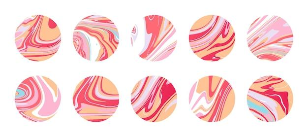 Zeitgenössische runde marmorsymbole mit textur aus flüssiger marmorplatte, scheibe oder epoxid in rosa. abstrakte kreissymbole für highlight-cover. hintergründe für social-media-geschichten
