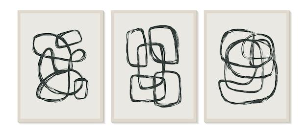 Zeitgenössische vorlagen mit abstrakten formen moderner boho-stil der mitte des jahrhunderts.
