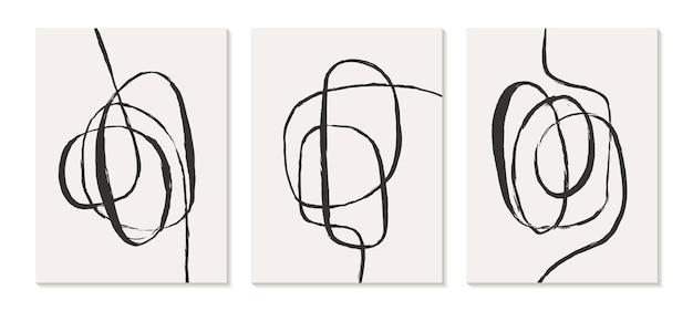 Zeitgenössische vorlagen mit abstrakten formen moderner boho-stil der mitte des jahrhunderts