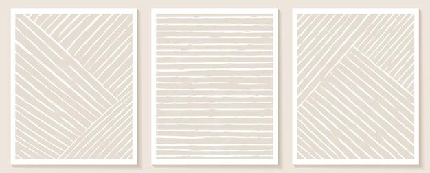 Zeitgenössische vorlagen mit abstrakten formen und linien in nackten farben