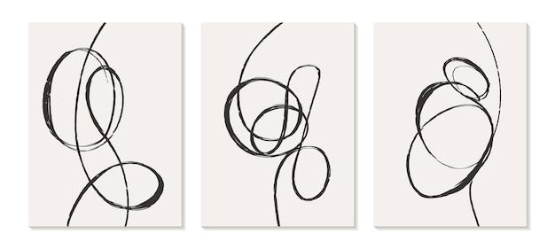 Zeitgenössische vorlagen mit organischen abstrakten formen und linien in retro-farben pastell-boho-hintergrund im minimalistischen stil der mitte des jahrhunderts illustration