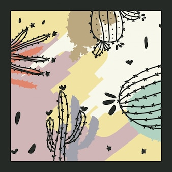 Zeitgenössischer hintergrund mit kaktus