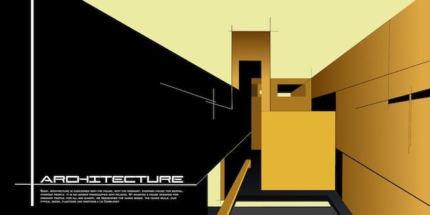 Zeitgenössisches architekturvektormodell für eine planlandungsseite oder eine designwerbungsbroschüre oder -broschüre