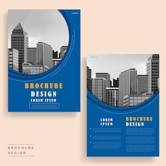 Zeitgenössisches broschüren-vorlagendesign mit stadtlandschaft und geometrischen elementen
