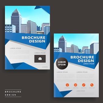Zeitgenössisches broschüren-vorlagendesign mit stadtlandschaft und origami-elementen