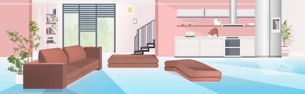 Zeitgenössisches haus mit wohnzimmer und offener küche leer keine menschen wohnung innen horizontale vektor-illustration