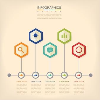 Zeitgenössisches infografik-design mit sechseck-etikettenelementen