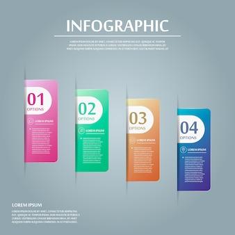 Zeitgenössisches infografikdesign mit bunten etikettenelementen