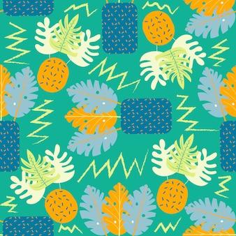 Zeitgenössisches nahtloses mit blumenmuster der collage. moderne exotische dschungelfrüchte und -pflanzen. kreatives design lässt muster