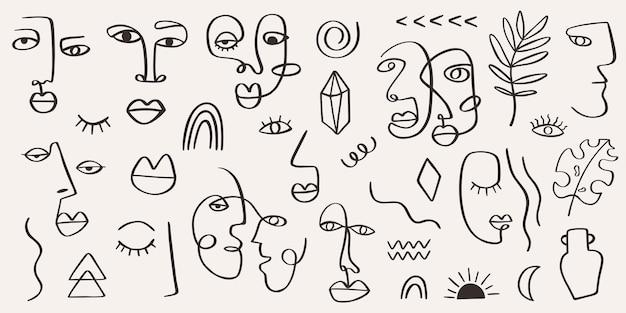 Zeitgenössisches stammesfrauenporträt mit abstrakten blättern, formenlinienkunststil
