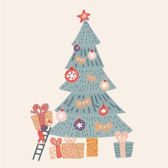 Zeitkarikatur-illustrationskarte der frohen weihnachten mit elfe