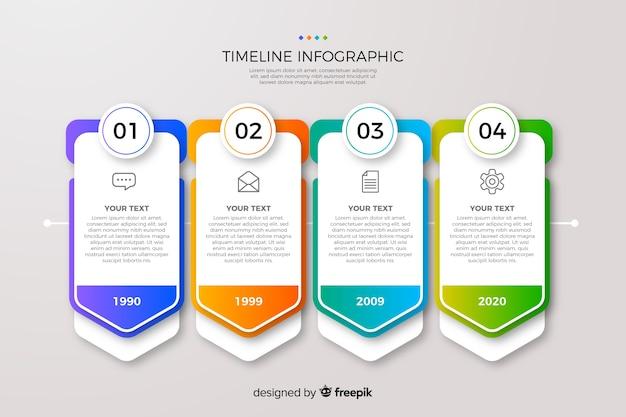 Zeitleiste farbverlauf infografik