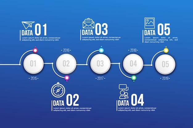 Zeitleiste infografik in flaches design