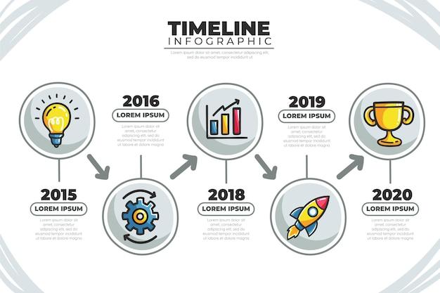 Zeitleiste infografik mit abbildungen