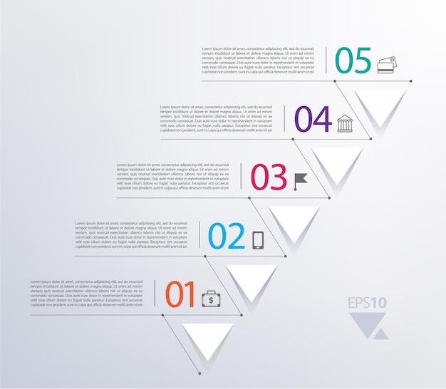 Zeitleiste infografik mit zahlen und dreiecken nach oben