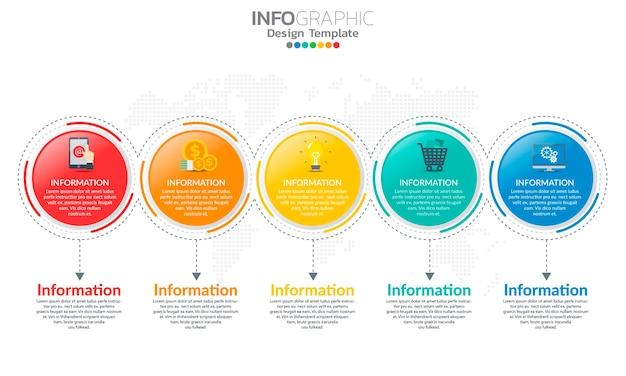 Zeitleiste infografik vorlage mit pfeilen und 5 optionen flaches design