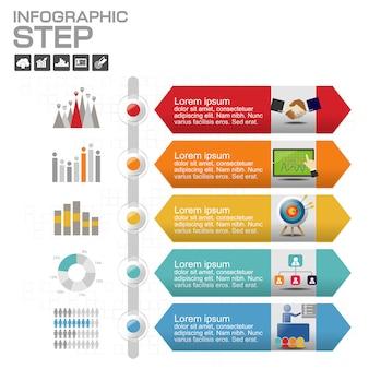 Zeitleiste infographik mit vielen farben
