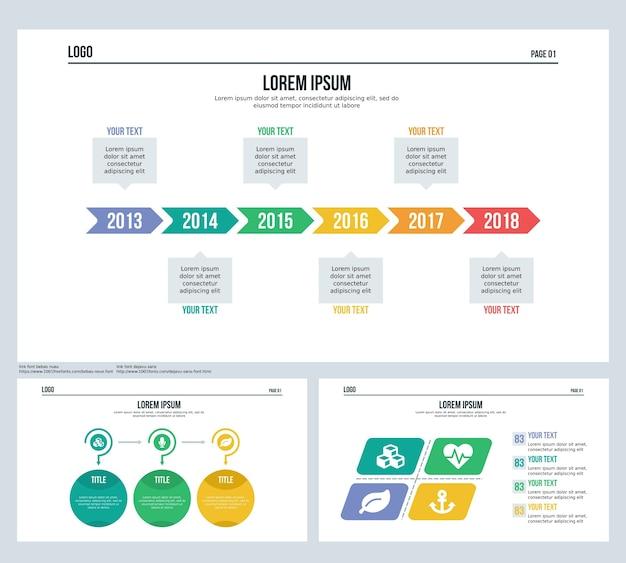 Zeitleiste, kugel-set präsentationsfolie und powerpoint-vorlage