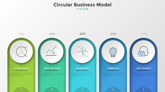Zeitleiste mit 5 kreisförmigen elementen und jahresangabe. kreative infografik-design-vorlage. vektorgrafik zur visualisierung der jährlichen entwicklungsmeilensteine des unternehmens oder des geschäftsprojekts.