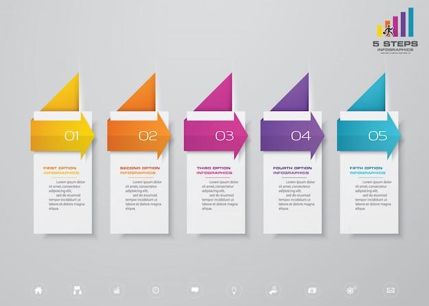 Zeitleiste mit 5 schritten mit pfeil-infografiken-elementdiagramm.