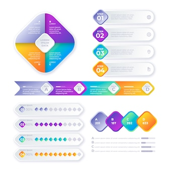 Zeitleiste mit farbverlauf infografik
