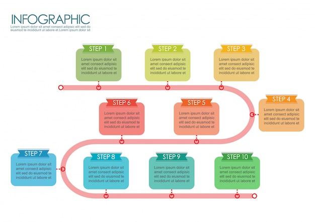 Zeitleiste schritt vorlage infografik