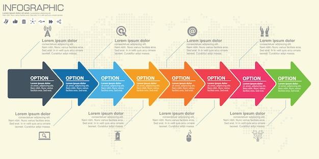 Zeitleiste und pfeil infografik. weltkarte hintergrund