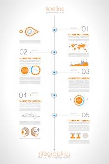 Zeitleiste zur anzeige ihrer daten mit infografik-elementen