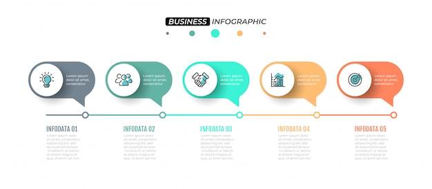 Zeitleistenelemente mit 5 schritten, beschriftungen und marketing-symbolen.