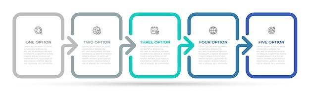 Zeitleistenprozess mit 5 optionen oder schritten.