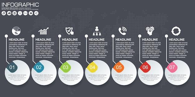 Zeitleistenvektor-infografik. weltkarte hintergrund