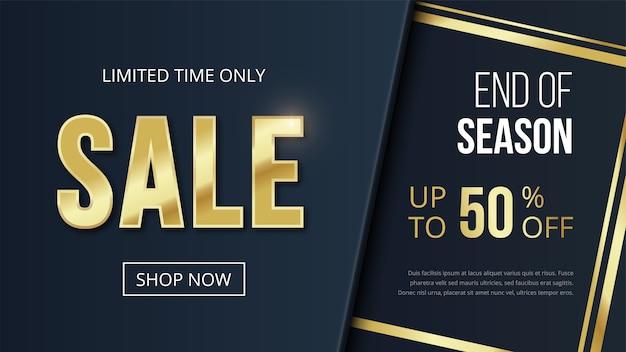 Zeitlich begrenzte sale shopping banner luxus vorlage, 50 prozent rabatt, button shop jetzt. goldenes textdesign und goldene streifen auf dunklem hintergrund. illustration für flyer, poster, rabatt, web