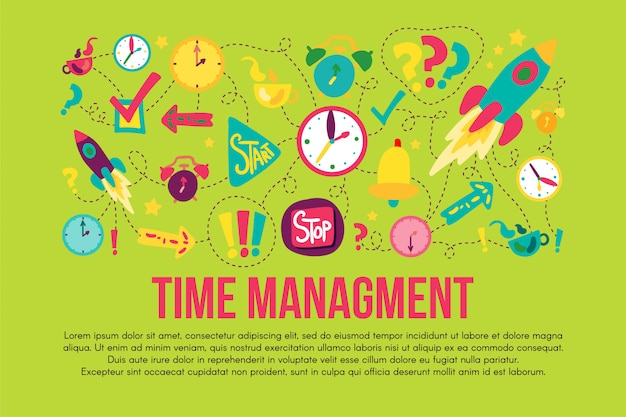 Zeitmanagement-aufkleber festgelegt festgelegt