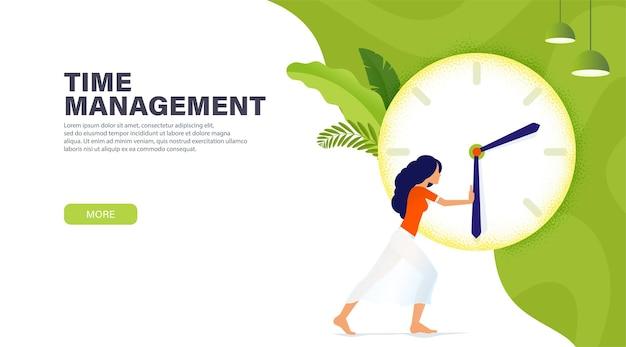 Zeitmanagement-banner mit charakter, mädchen stoppte die zeit für ruhe. mehr zeitkonzept.