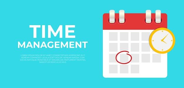 Zeitmanagement-banner mit kalenderdatum und uhrensymbol.