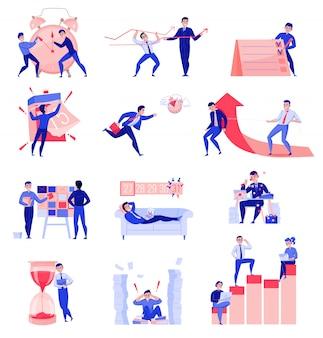 Zeitmanagement flache symbole sammlung mit zeitplan planungsfrist teamarbeit koordination sanduhr wecker vektor-illustration