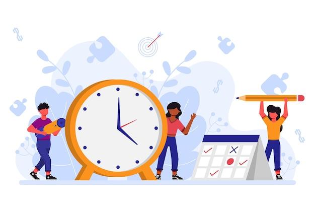 Zeitmanagement flaches design