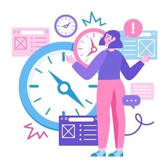 Zeitmanagement hand gezeichnete illustration
