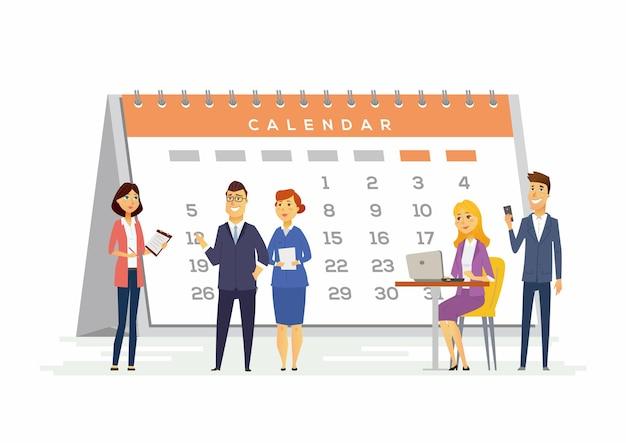 Zeitmanagement in einem unternehmen - moderne zeichentrickfiguren mit lächelnden menschen, die mit einem großen kalender dahinter sitzen und stehen. kreatives konzept der teambildung, frist, fälligkeit