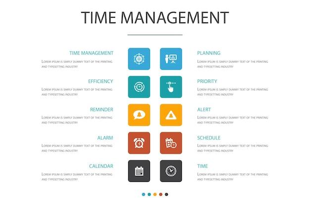 Zeitmanagement-infografik 10-optionskonzept. effizienz, erinnerung, kalender, planung einfacher symbole