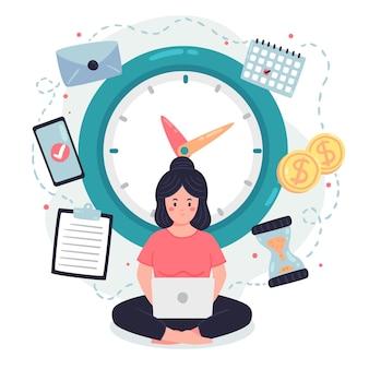 Zeitmanagement-konzept flach
