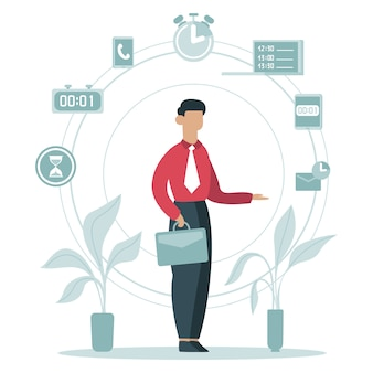 Zeitmanagement-konzept. geschäftsmann, der arbeitsaufgaben plant, zeitplan, geschäftsarbeiter umgibt zeitsymbole illustration. geschäftsplan, zeitmanagement
