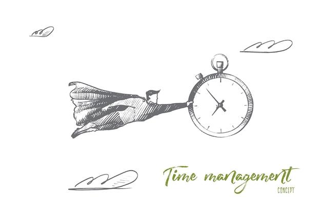 Zeitmanagement-konzept. hand gezeichnete frau, die uhr hält. porträt der weiblichen person mit großer uhr isolierte illustration.