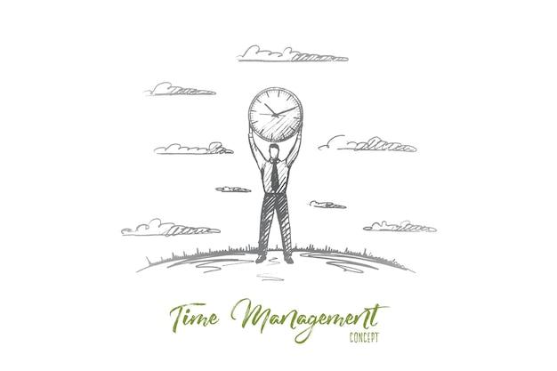 Zeitmanagement-konzept. hand gezeichneter mann, der große uhr unter seinem kopf hält. geschäftsmann, der über zeit und zeitplan isolierte illustration trägt.