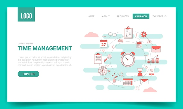 Zeitmanagement-konzept mit kreissymbol für website-vorlage oder zielseite, homepage-gliederungsstil