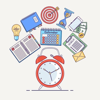 Zeitmanagement-konzept. planung, organisation des arbeitstages. wecker, tagebuch, kalender, telefon, aufgabenliste isoliert im hintergrund