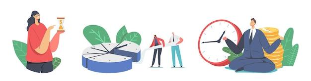 Zeitmanagement-konzept. winzige geschäftsleute teilen sich eine riesige uhr, die in stücken getrennt ist, frau mit sanduhr beeilt sich mit der arbeit, mann meditiert während der frist. cartoon-menschen-vektor-illustration