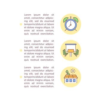 Zeitmanagement-konzeptlinie symbole mit text