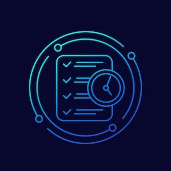 Zeitmanagement-linienvektorsymbol mit checkliste